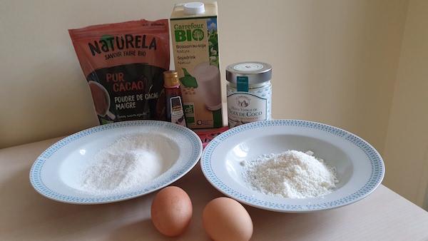 Ingrédients fondant cacao et patate douce
